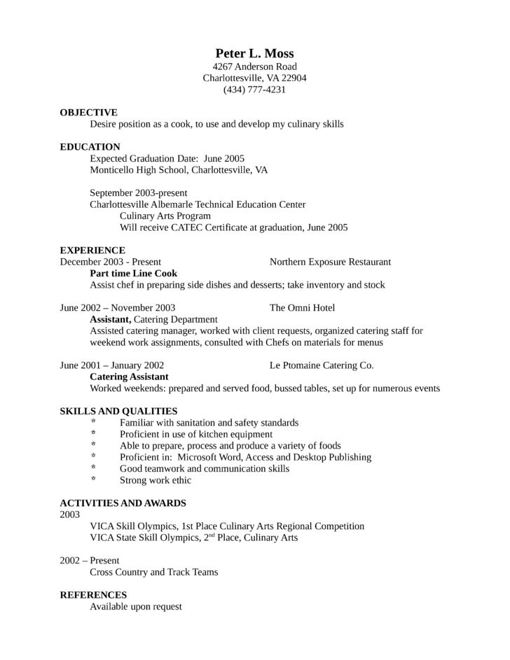 line cook resume template