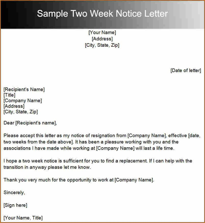 8+ 2 weeks notice template retail - Basic Job Appication Letter