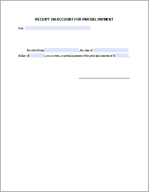 Partial Payment Receipt Form | Free Fillable PDF Forms