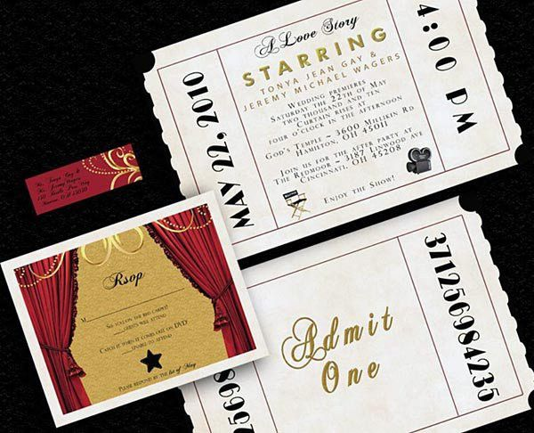 hollywood invitation | Hollywood Movie Theme Wedding Reception ...