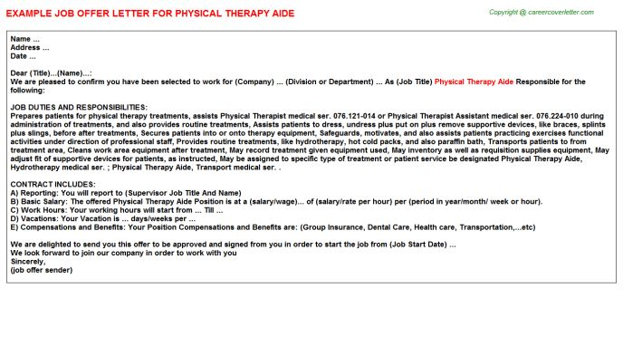 Physical Therapy Aide Offer Letter