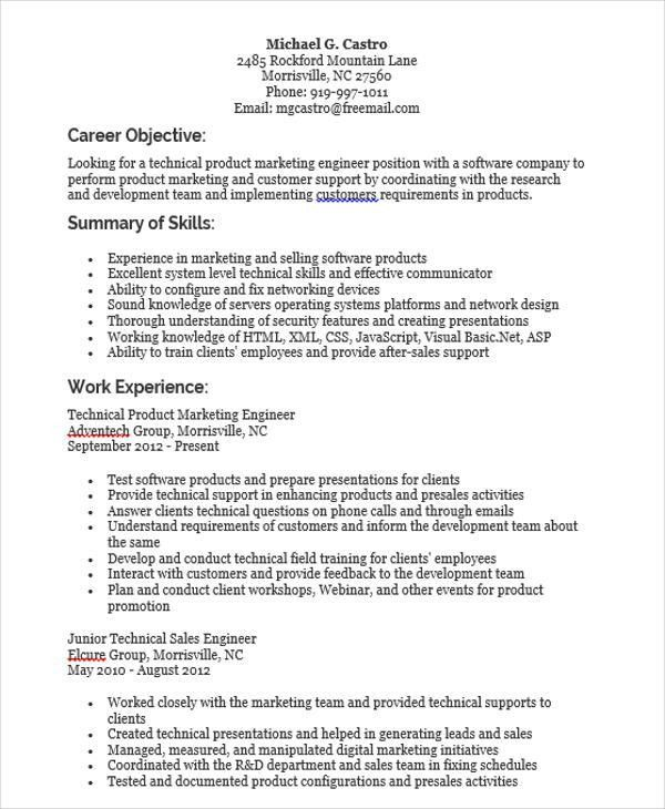 Download Product Marketing Engineer Sample Resume ...