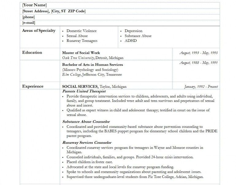 printable sample social work resume image large size. job ...
