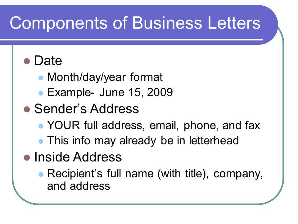 Effective Written Communication: BUSINESS LETTERS An Overview ...