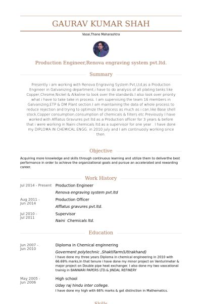 Production Engineer Resume samples - VisualCV resume samples database