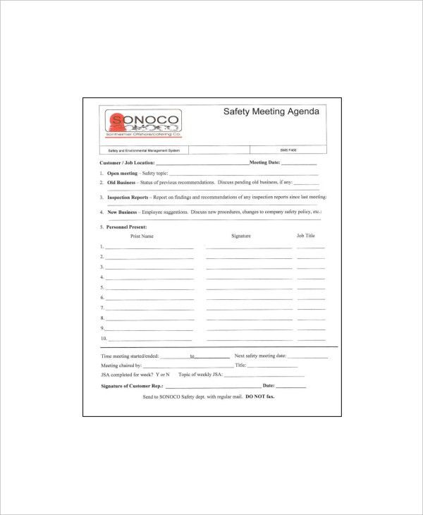 12+ Safety Meeting Agenda Templates – Free Sample, Example Format ...