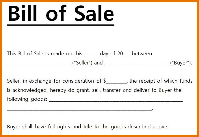 8+ bill of sale templates | Itinerary Template Sample