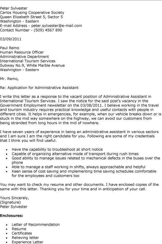 sample cover letter for executive assistant