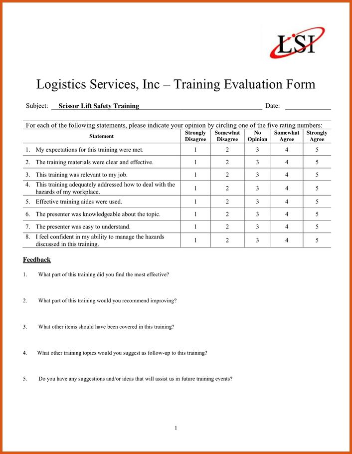 training evaluation form | general resumes