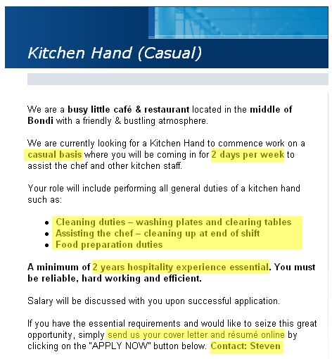 Resume Template For Kitchen Hand | Application Letter For Any ...