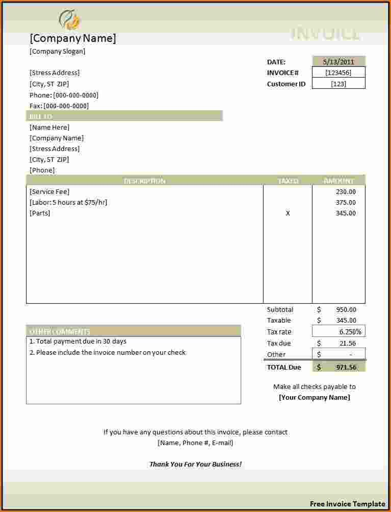 4+ free printable invoice template | Printable Receipt