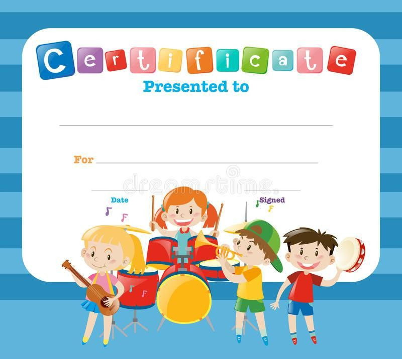 Certificate Template With Kids In The Band Stock Vector - Image ...