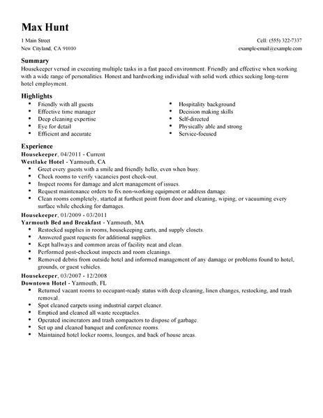 Best Housekeeper Resume Example | LiveCareer