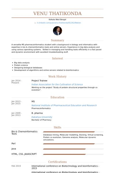 Project Trainee Resume samples - VisualCV resume samples database