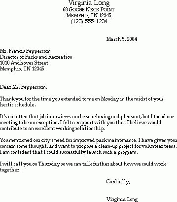 Sample Thank You Letter After a Job Interview - Susan Ireland Resumes