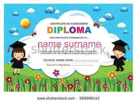 Kids Diploma Certificate Background Design Template Stock Vector ...