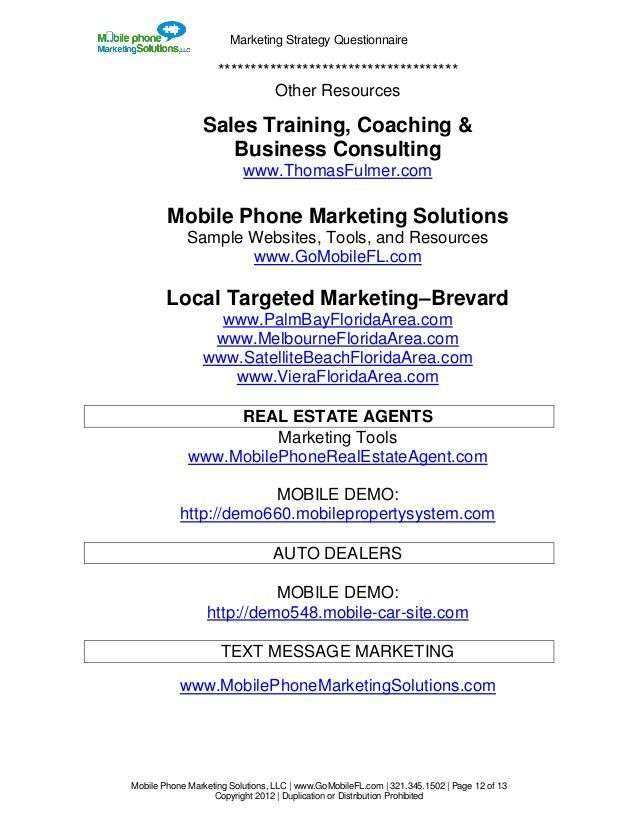 Basic Marketing strategy Questionnaire By Mobile Phone Marketing Solu…