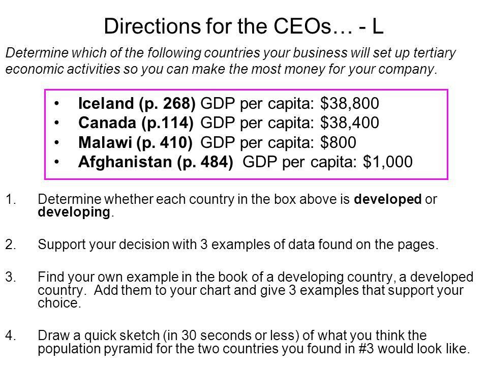 Directions for the CEOs… - L Determine which of the following ...