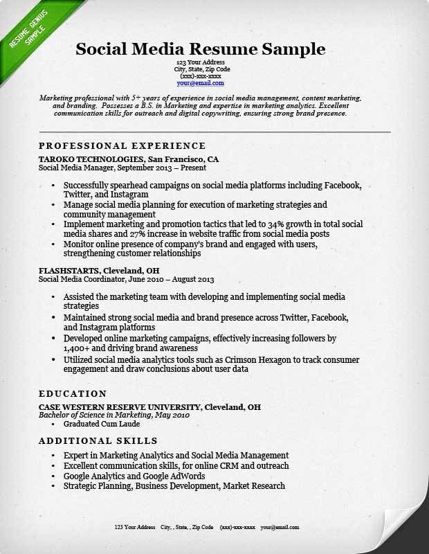 Social Media Resume Sample | Resume Genius