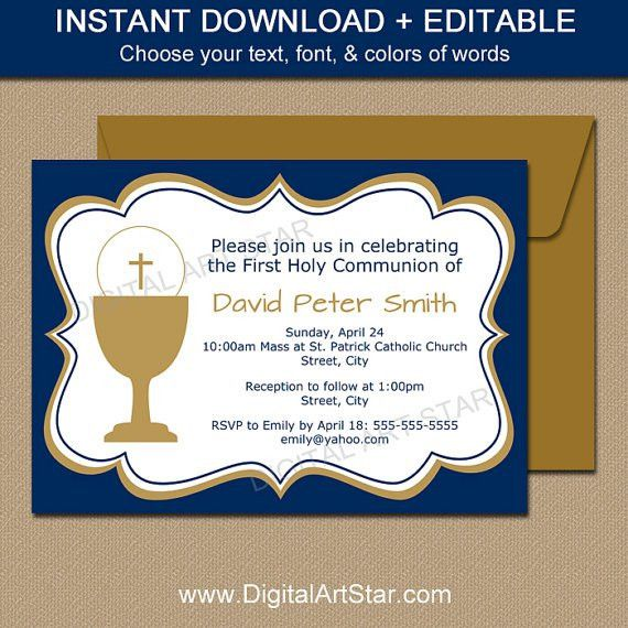 First Communion Invitation Template EDITABLE Navy & Gold