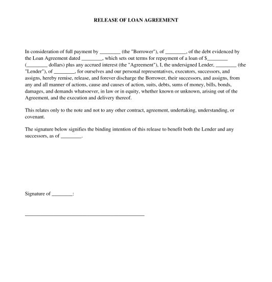 Release of Loan Agreement - Template - Word & PDF