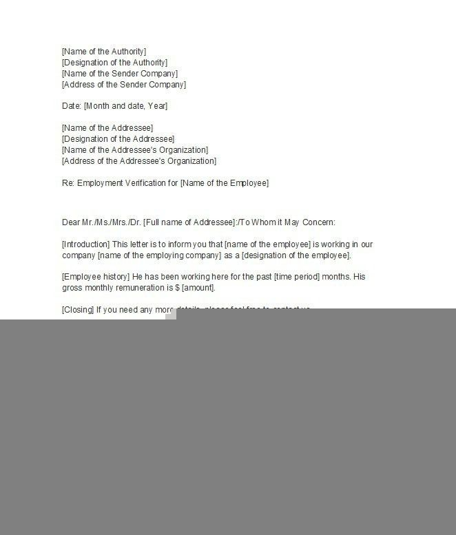 letter of verification of employmentproof of employment letterjpg ...