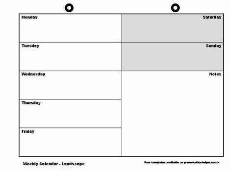 Blank Weekly Calendar Template | weekly calendar template