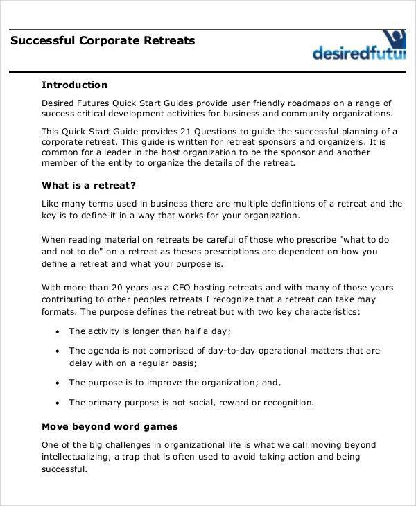 Retreat Agenda Template - 7+ Free Word, PDF Documents Download ...