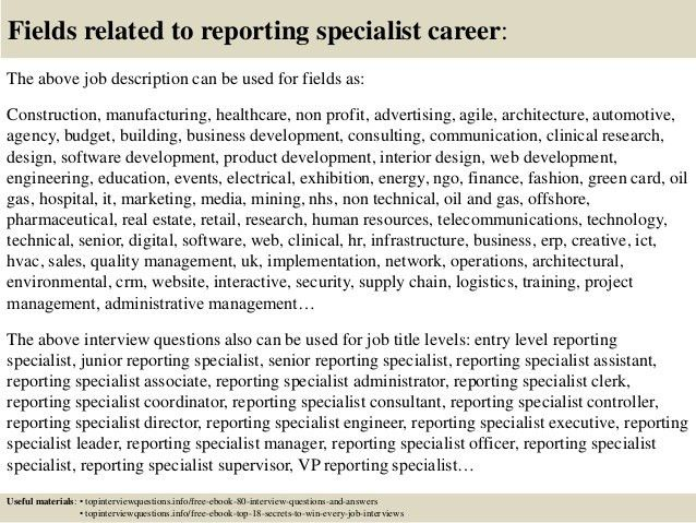Top 10 reporting specialist interview questions and answers