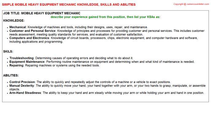 Mobile Heavy Equipment Mechanic Knowledge & Skills