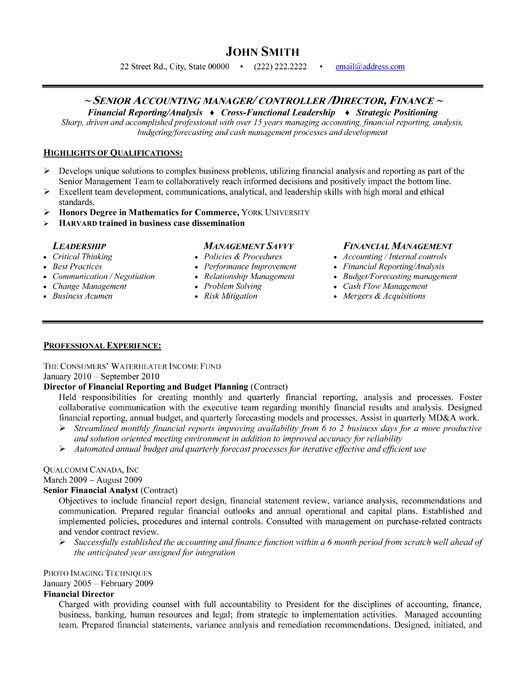 executive senior accounting manager director resume sample ...