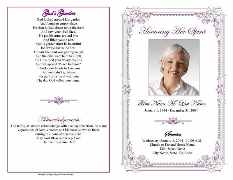 Funeral Program Templates | Purple Frame