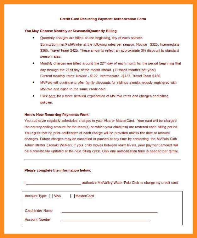 5+ credit card authorization form template - mystock clerk
