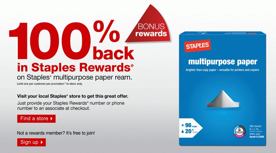 100% back in Staples Rewards® on Staples® multipurpose case paper ...