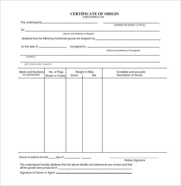 Sample Certificate of Origin Template - 14+ Free Documents in PDF ...