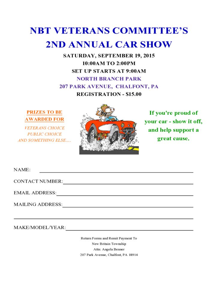 Car Show Registration Form Templates - Find Word Templates