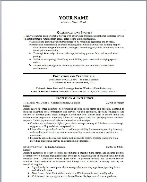 head waiter resume samples resume sample waiter job waiter resume ...