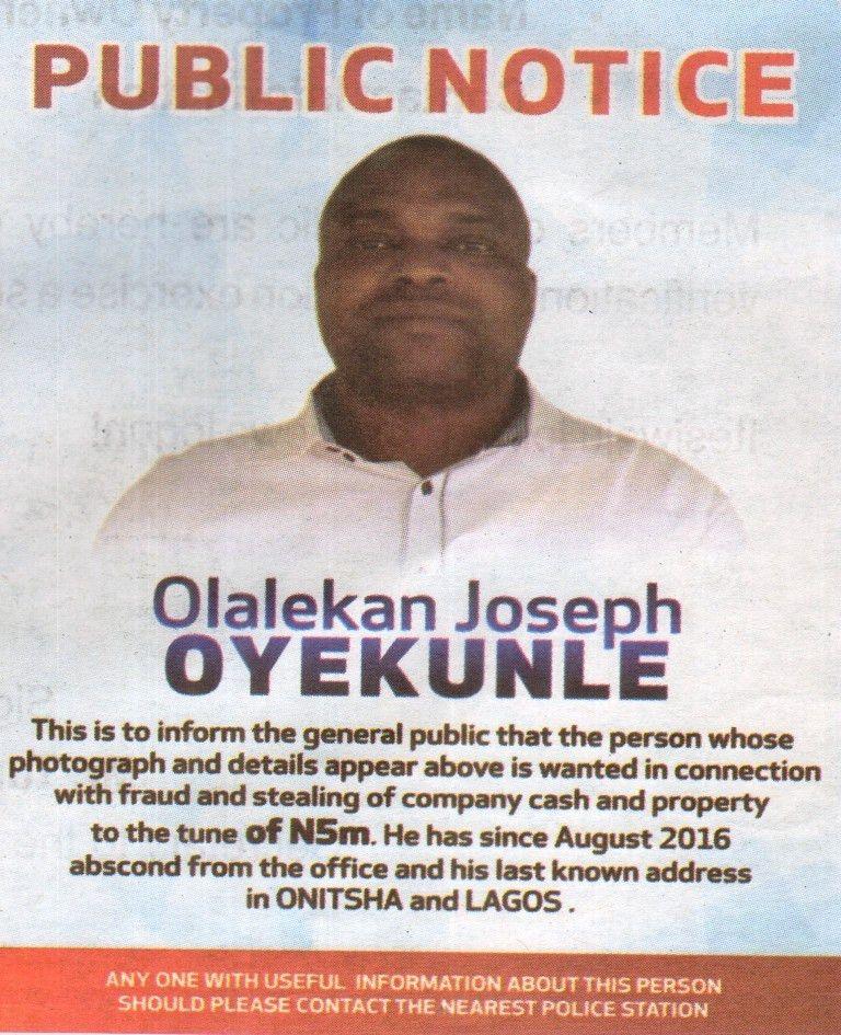 The Nigeria Police – Wanted Person (Olalekan Joseph Oyekunle ...