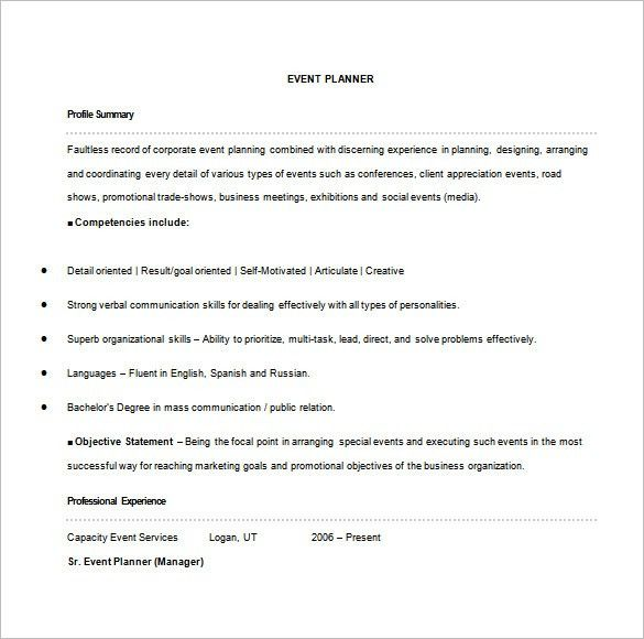 Event Planner Resume Template – 9+ Free Word, Excel, PDF Format ...