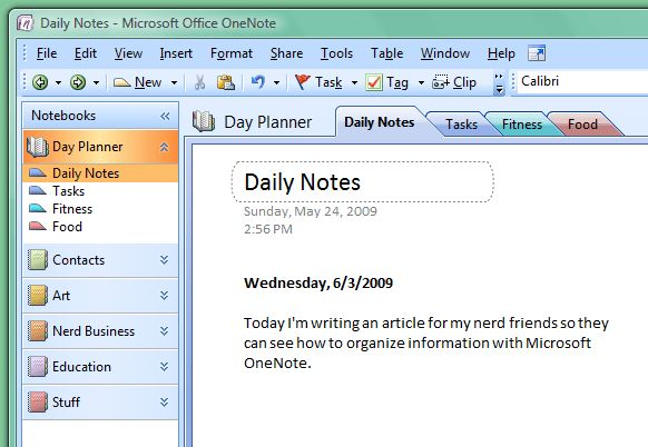 Daily Diary In Onenote