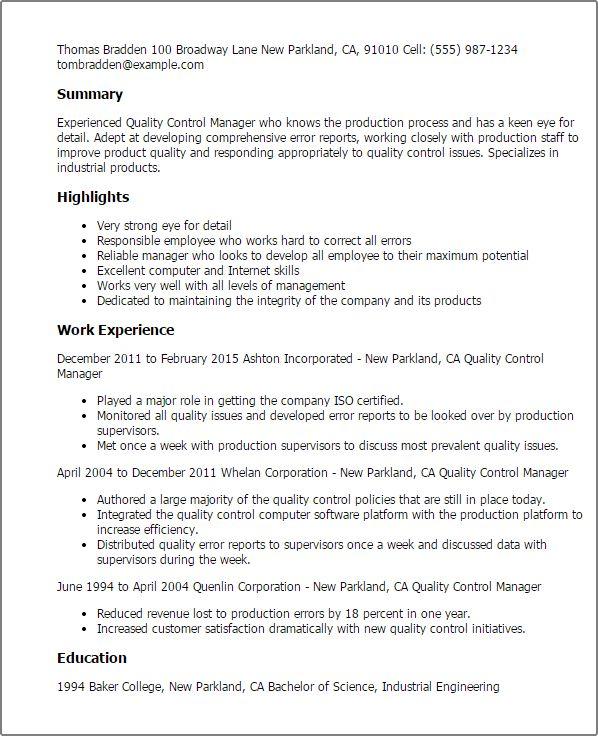 Trendy Idea Quality Control Resume 13 Quality Assurance Resume ...