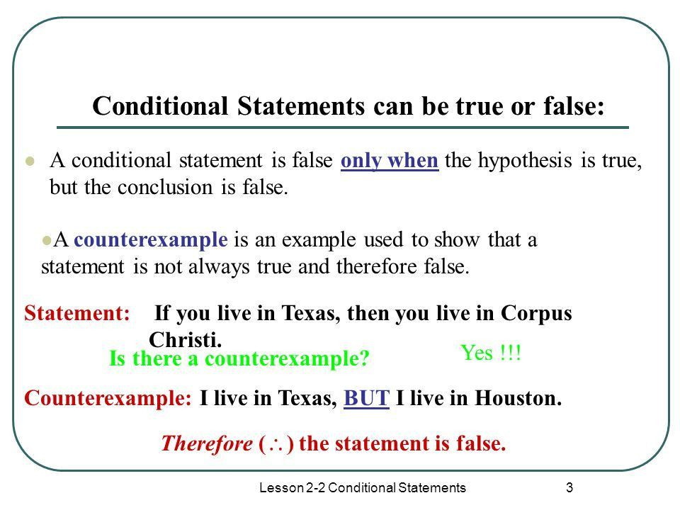 Lesson 2-2 Conditional Statements 1 Lesson 2-2 Counterexamples ...