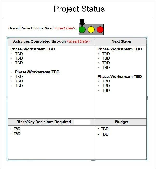 Project Status Report Template - 8+ Download Free Documents in PDF ...
