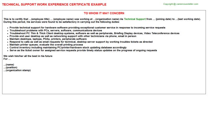 Technical Support Work Experience Certificate