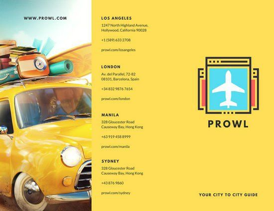 Yellow Illustrated Travel Trifold Brochure - Templates by Canva