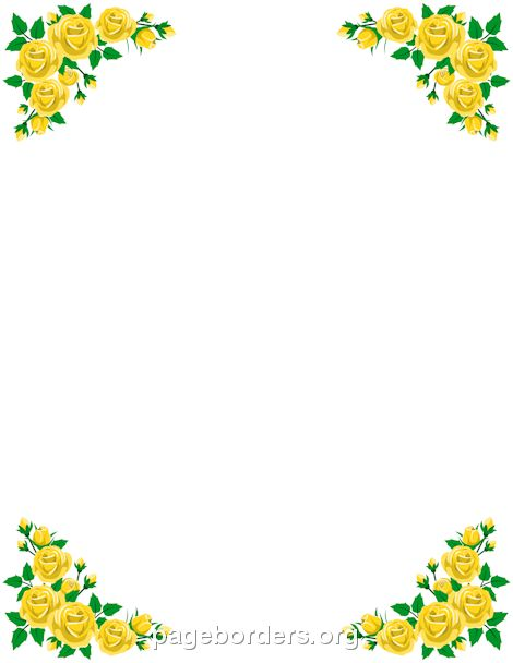 Printable yellow rose border. Use the border in Microsoft Word or ...