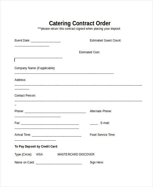 Catering Contract Template Free | Template Design
