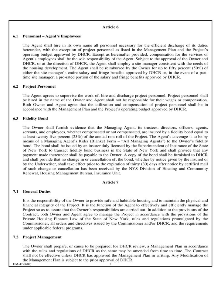 Agent Contract Template - New York Free Download