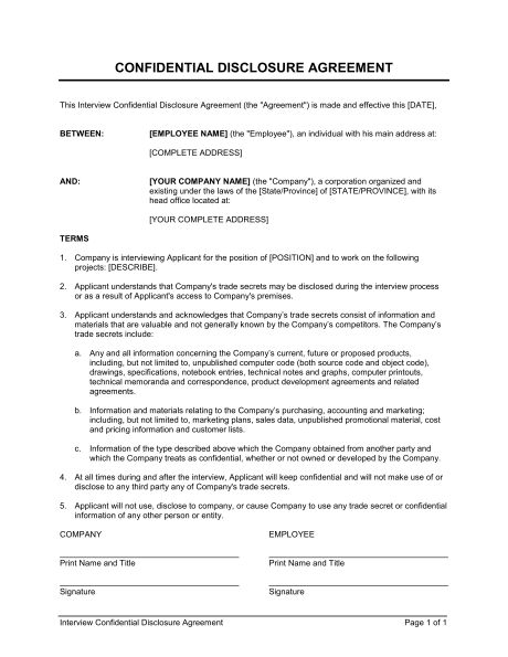 Interview Confidential Disclosure Agreement - Template & Sample ...