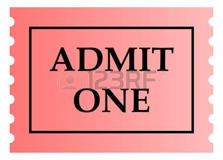 Admit One Pink Ticket Template With Copy Space, Isolated On White ...